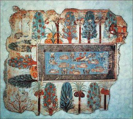"""Das berühmte Fresko """"Garten des Westens"""" aus dem Grab des Wesirs Nebamun in Theben. (Wikipedia / User: Yann / gemeinfrei)"""