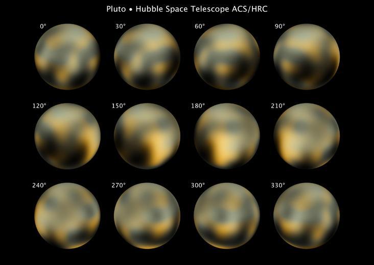 Die Oberfläche Plutos, basierend auf älteren Daten des Hubble Space Telescope. (Courtesy of NASA)