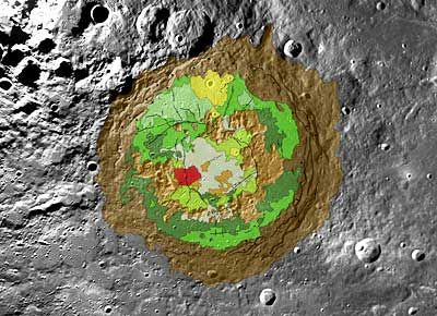 Geologische Karte des Schrödinger-Beckens (Courtesy of NASA / Scott Mest)