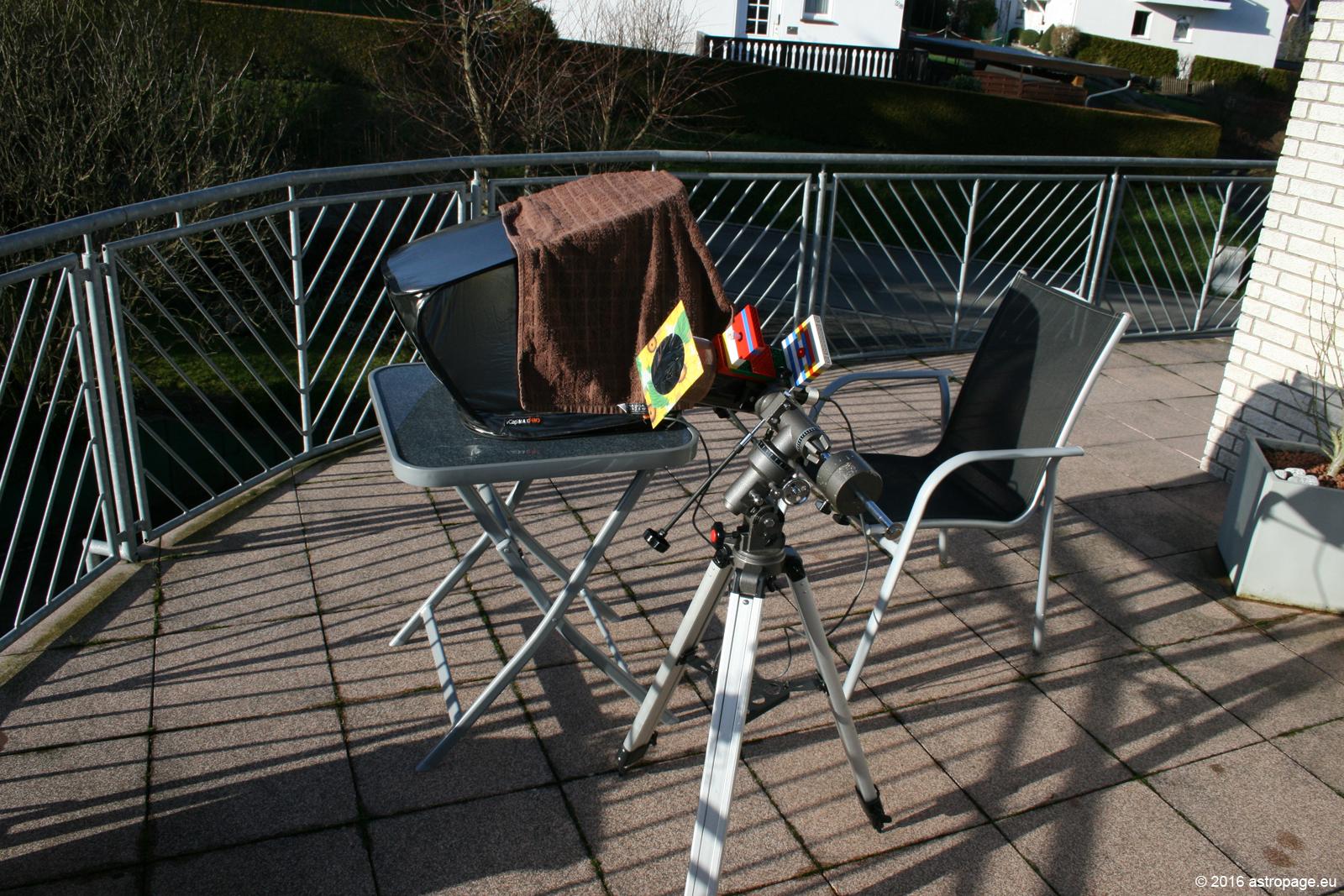 Setup bei der Sonnenbeobachtung. (astropage.eu)