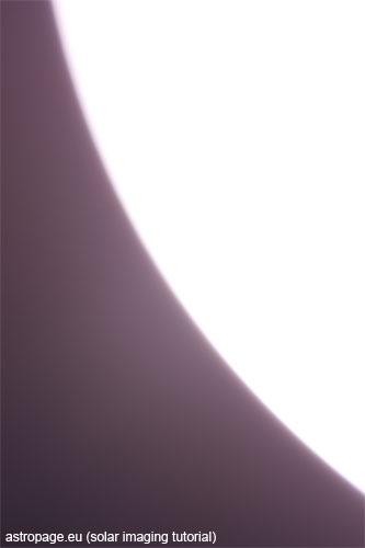 Sonne - überbelichtet und nicht ganz im Fokus. (astropage.eu)