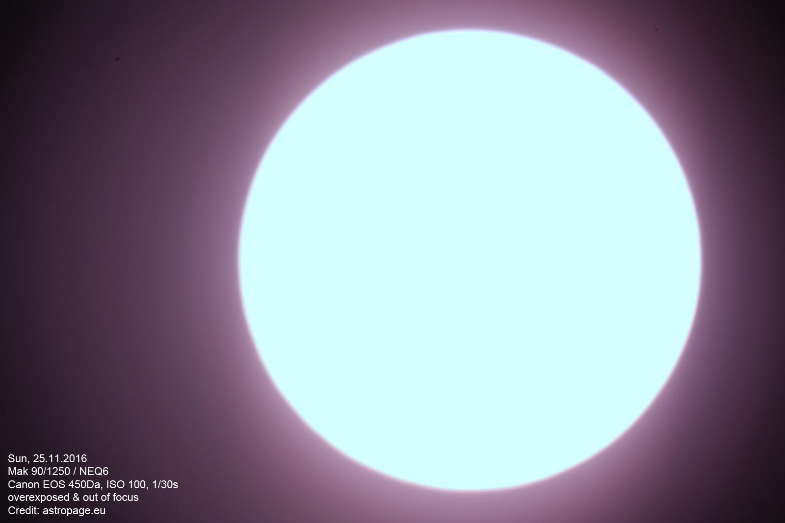 Sonne - überbelichtet und außerhalb des Fokus. (astropage.eu)