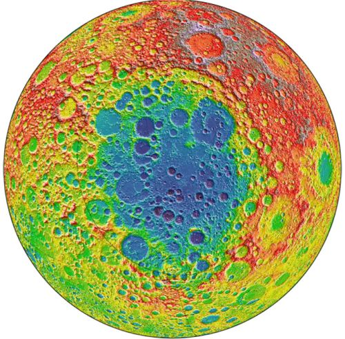 Höhenprofil des Südpol-Aitken-Beckens (Courtesy of NASA / Goddard)