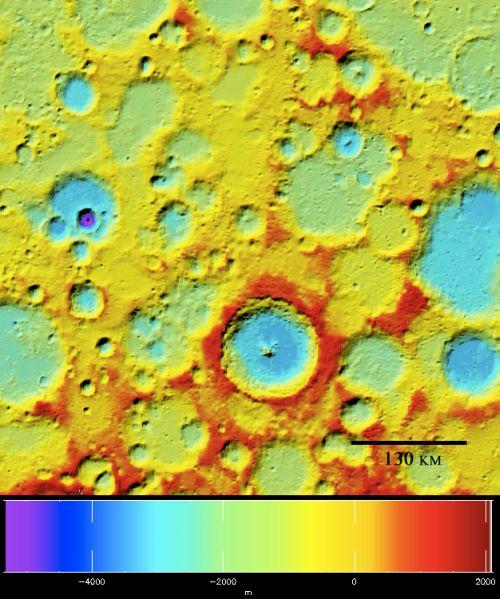 Höhenprofil von Tycho (Courtesy of NASA / Goddard Space Flight Center)