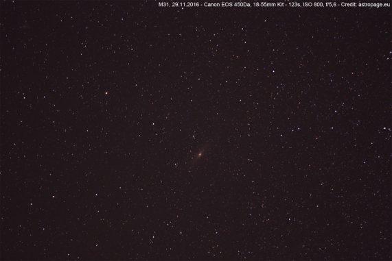 Die Andromeda-Galaxie M31 vom 29.11.2016. (astropage.eu)