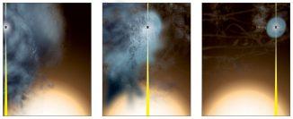 Diese Illustrationen zeigen, wie das fast nackte supermassive Schwarze Loch entstand. (Bill Saxton, NRAO / AUI / NSF)