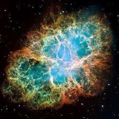 Der Krebsnebel, hier aufgenommen vom Weltraumteleskop Hubble in optischen Wellenlängen, ist auch ein Pulsarwindnebel. (NASA / Hubble Space Telescope)
