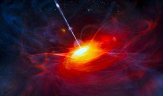 Diese Illustration zeigt einen fernen Quasar, der von einem Schwarzen Loch mit zwei Milliarden Sonnenmassen mit Energie versorgt wird. (ESO / M. Kornmesser)