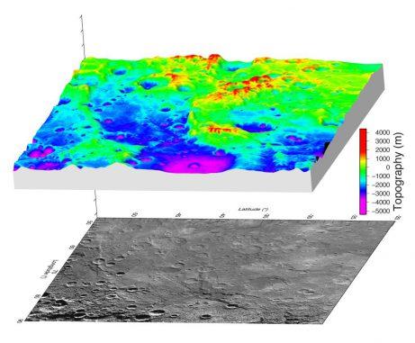 Ein hochaufgelöstes digitales Höhenmodell auf Basis von Stereo-Bildern der NASA-Raumsonde MESSENGER. Das Große Tal auf Merkur ist hier in einer 3D-Ansicht zu sehen. (NASA / Johns Hopkins University Applied Physics Laboratory / Carnegie Institution of Washington / DLR / Smithsonian Institution)