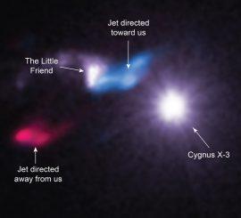 Die Röntgenquelle Cygnus X-3 mit ihrer nahen Gaswolke Little Friend und zwei Materiejets. (X-ray: NASA / CXC / SAO / M. McCollough et al, Radio: ASIAA / SAO / SMA)