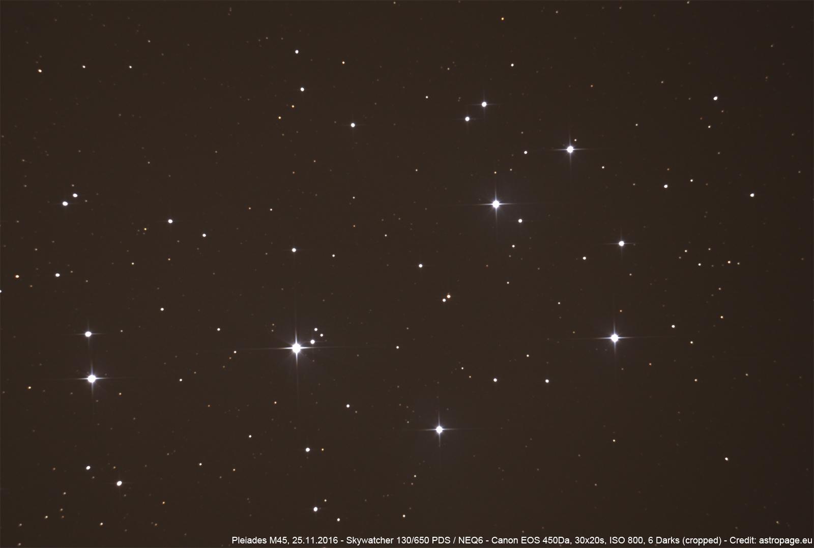 Plejaden M45 vom 25.11.2016. (astropage.eu)