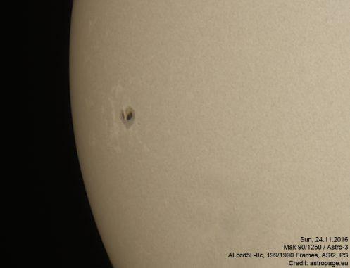 Sonne vom 24.11.2016. (astropage.eu)