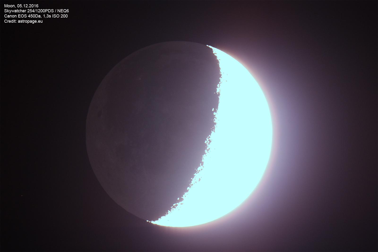 Überbelichteter Mond vom 05.12.2016. (astropage.eu)