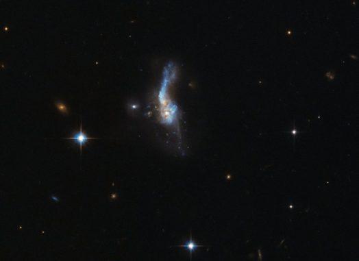 Das verschmelzende Galaxienpaar IRAS 14348-1447, aufgenommen vom Weltraumteleskop Hubble. (ESA / Hubble & NASA)
