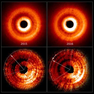 Hubble-Aufnahmen der Gas- und Staubscheibe um den jungen Stern TW Hydrae. Der Schatten mit seiner veränderten Position ist erkennbar. (Credit: NASA, ESA, and J. Debes (STScI))