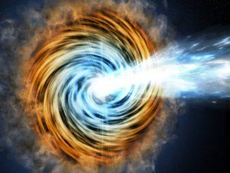 Künstlerische Darstellung eines Blazars. Wenn einer der beiden ausgestoßenen Jets in Richtung Erde zeigt, erscheint die Galaxie besonders hell und wird als Blazar klassifiziert. (Credits: M. Weiss / CfA)