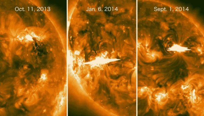 Ultraviolettbilder dreier Flares auf der abgelegenen Seite der Sonne, aufgenommen von den STEREO-Satelliten der NASA. Das Fermi-Teleskop konnte keinen Flare direkt beobachten, registrierte jedoch hochenergetische Gammastrahlen von ihnen. (Credits: NASA / STEREO)