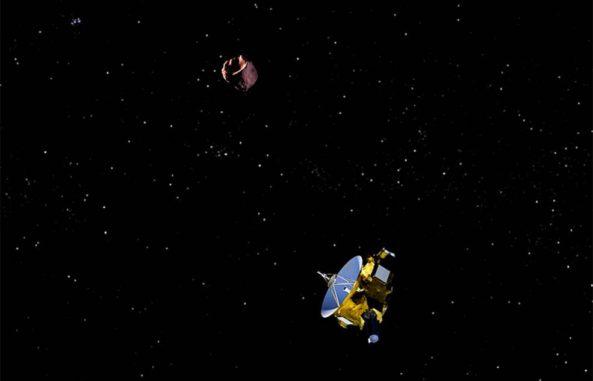 Künstlerische Darstellung der Raumsonde New Horizons bei einem Vorbeiflug an ihrem nächsten Ziel, dem Kuipergürtelobjekt 2014 MU69, am 1. Januar 2019. (Credits: NASA / JHUAPL / SWRI / Steve Gribben)