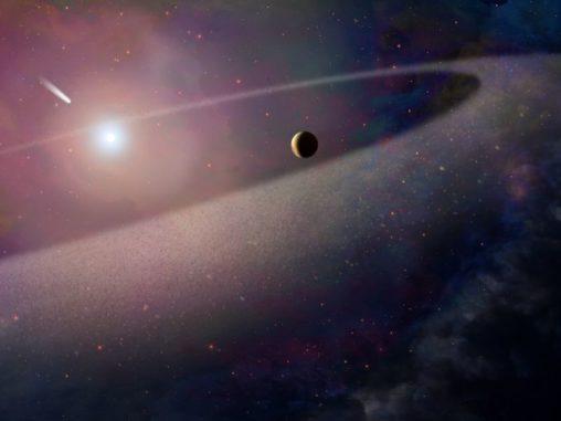 Künstlerische Illustration eines Weißen Zwergs mit einem kometenähnlichen Objekt, das auf ihn zufliegt. (NASA, ESA, and Z. Levy (STScI))