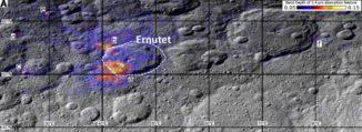 Gebiete mit hohen Konzentrationen an organischen Substanzen um den Krater Ernutet auf dem Zwergplaneten Ceres, markiert mit den Buchstaben a bis f. Wärmere Farben zeigen höhere Konzentrationen an. (Credit: NASA / JPL-Caltech / UCLA / ASI / INAF / MPS / DLR / IDA)