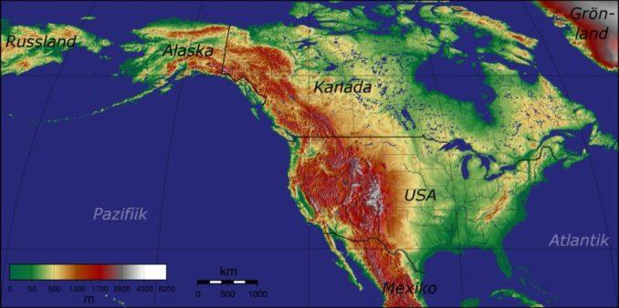Topografie der Vereinigten Staaten von Amerika. (Credit: University of Hawaii / CC BY-SA 3.0 / Wikipedia User: Captain Blood)