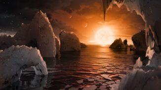 Diese Illustration zeigt die mögliche Oberfläche von TRAPPIST-1f, einem der neu entdeckten Planeten im System TRAPPIST-1. (Credits: NASA / JPL-Caltech)