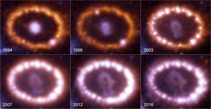 Diese Bilder entstanden zwischen 1994 und 2016 und demonstrieren den Helligkeitsanstieg des Gasrings um den explodierten Stern. (Credits: NASA, ESA, and R. Kirshner (Harvard-Smithsonian Center for Astrophysics and Gordon and Betty Moore Foundation), and P. Challis (Harvard-Smithsonian Center for Astrophysics))