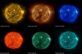 Diese Sonnenbilder wurden am 29. Januar 2017 gleichzeitig von den sechs Kanälen des SUVI-Instruments an Bord des Satelliten GOES-16 gemacht. Sie zeigen ein großes koronales Loch in der südlichen Hemisphäre der Sonne. Jeder Kanal zeigt die Sonne in einer anderen Wellenlänge. (Credits: NOAA)