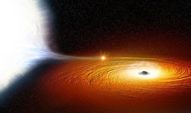 Künstlerische Darstellung eines Sterns in einem engen Orbit um ein Schwarzes Loch. (Credit: NASA)