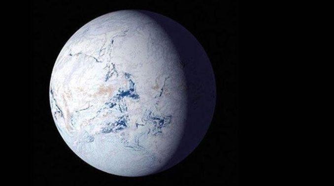 """Illustration des """"Schneeballs Erde"""" vor mehr als 700 Millionen Jahren. (Credit: NASA)"""