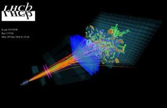 Ein vollständig rekonstruierter Teilchenzerfall am Detektor des LHCb-Experiments. (Image: LHCb collaboration)