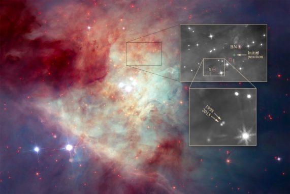 """Dieses Hubble-Bild zeigt das Trapez im Orionnebel. Das Kästchen oberhalb des Trapez-Haufens markiert die Position der drei Sterne. Der Geburtsort des Mehrfachsternsystems ist als """"initial position"""" bezeichnet. (Credits: NASA, ESA, K. Luhman (Penn State University), and M. Robberto (STScI))"""