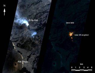 Eine künstliche Intelligenz an Bord des NASA-Satelliten EO-1 assistierte beim Fotografieren einer Eruption des Vulkans Erta Ale in Äthiopien. Die Beobachtung wurde autonom durch das Volcano Sensor Web eingeleitet. (Credits: NASA / JPL / EO-1 Mission / GSFC / Ashley Davies)