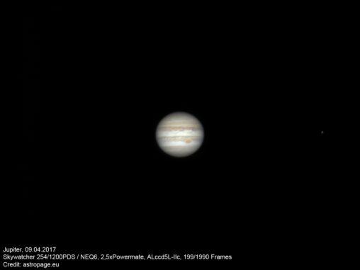 Jupiter vom 09.04.2017. (Credit: astropage.eu)