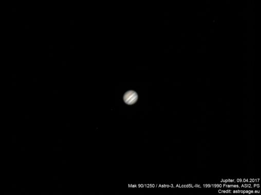 Jupiter vom 9. April 2017. (Credit: astropage.eu)