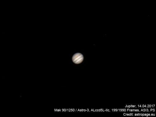 Jupiter vom 14. April 2017. (Credit: astropage.eu)