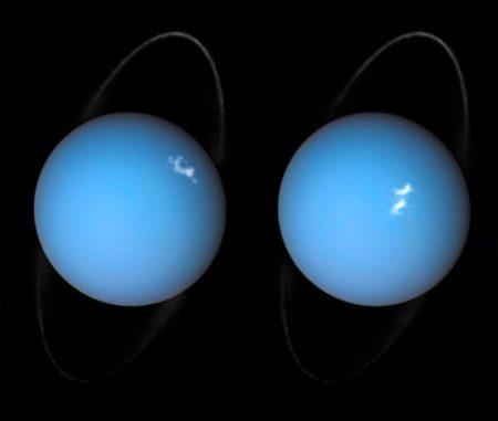 Polarlichter auf Uranus. Die Bilder basieren auf Beobachtungen der Raumsonde Voyager 2 und des Weltraumteleskops Hubble. (Credits: ESA / Hubble & NASA, L. Lamy)