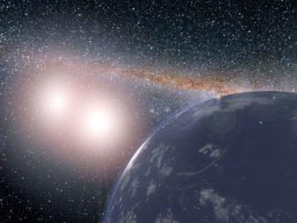 Diese künstlerische Darstellung zeigt einen hypothetischen, wasserbedeckten Planeten im Doppelsternsystem Kepler-35. (Credit: NASA / JPL-Caltech)
