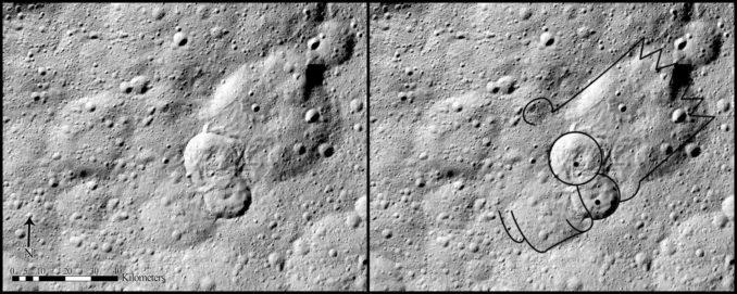 Erdrutsch des Typs II auf Ceres. Dieses Exemplar ähnelt dem Kopf von Bart Simpson. (Credits: NASA/JPL-Caltech/UCLA/MPS/DLR/IDA, taken by Dawn Framing Camera)