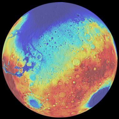 Dieses Falschfarbenbild des Mars zeigt Höhenunterschiede auf seiner Oberfläche. Blaue Gebiete markieren tiefe Regionen, rote kennzeichnen höher gelegene Areale. Das Borealis-Becken befindet sich oben, das Hellas-Becken unten rechts und das Argyre-Becken unten links. (Credits: University of Arizona / LPL / Southwest Research Institute)