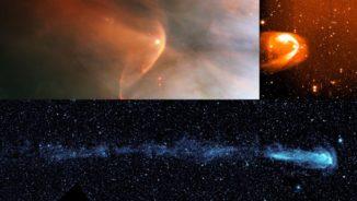 Viele andere Sterne zeigen einen kometenähnlichen Schweif, während sie das interstellare Medium durchqueren. Die Beispiele hier sind LL Orionis (oben links), BZ Cam (oben rechts) und Mira (unten). (Credits: NASA / HST / R.Casalegno / GALEX)