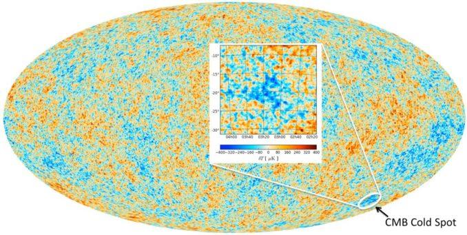 Diese Karte stellt den kosmischen Mikrowellenhintergrund dar, basierend auf Daten des Planck-Satelliten. Der Cold Spot ist markiert. (Credit: ESA and Durham University)