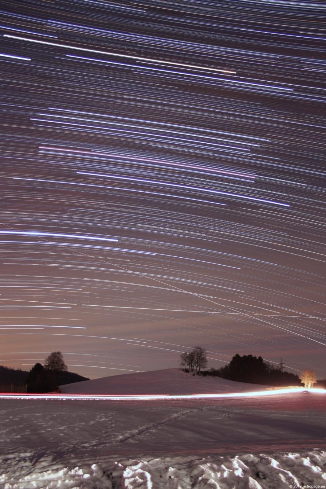 Sternstrichspuren vom 27. Januar 2017. (Credit: astropage.eu)