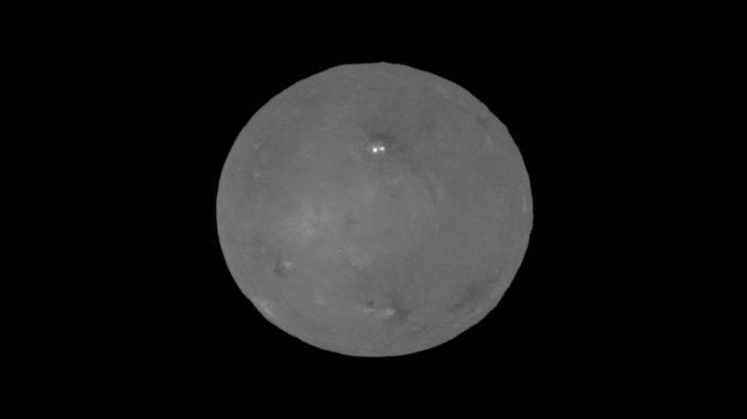 Der Zwergplanet Ceres mit den hellen Gebieten im Krater Occator, aufgenommen von der Raumsonde Dawn. (Credits: NASA / JPL-Caltech / UCLA / MPS / DLR / IDA)
