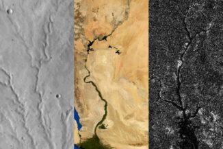Von links nach rechts: Flussnetzwerke auf dem Mars, der Erde und Titan. (Credit: Benjamin Black / NASA / Visible Earth / JPL / Cassini RADAR team. Adapted from images from NASA Viking, NASA / Visible Earth, and NASA / JPL / Cassini RADAR team)