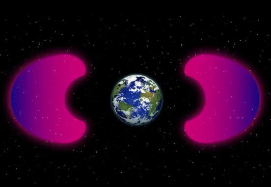 Schematische Darstellung der erdnahen Weltraumumgebung. (Credits: NASAs Goddard Space Flight Center / Genna Duberstein)