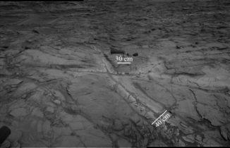 """Dieses Mosaikbild der Navigationskameras an Bord des NASA-Rovers Curiosity zeigt """"Halos"""" aus hellerem Grundgestein in der Nähe von Brüchen. Die Halos enthalten hohe Konzentrationen an Kieselerde und deuten darauf hin, dass flüssiges Grundwasser länger durch das Gestein floss, als bisher vermutet. (Credit: NASA / JPL-Caltech)"""
