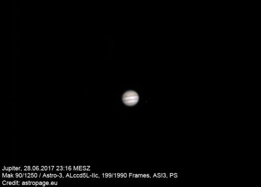 Jupiter vom 28. Juni 2017. (Credit: astropage.eu)