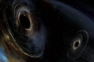 Künstlerische Darstellung der beiden verschmelzenden Schwarzen Löcher im System GW170104. (Image: LIGO / Caltech / MIT / Sonoma State (Aurore Simonnet))
