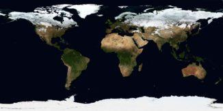 Bevor die Kontinente an hier dargestellten heutigen Positionen drifteten, waren sie vor vielen Millionen Jahren im Superkontinent Pangaea vereint. (Credit: Reto Stöckli, NASA Earth Observatory)